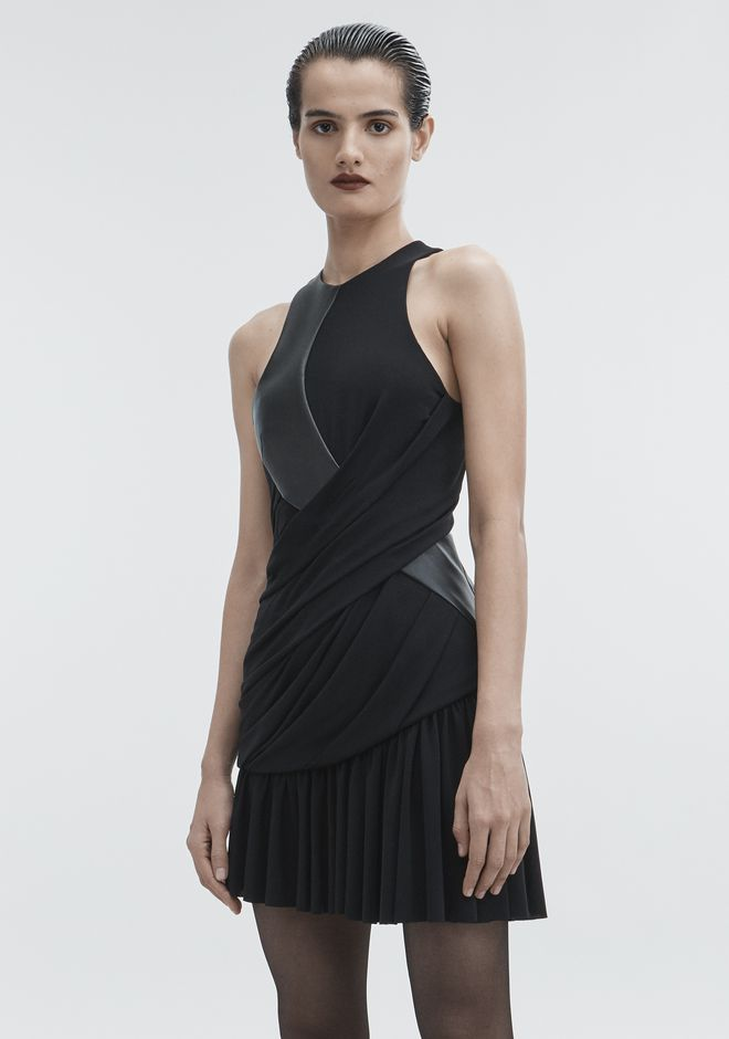 ALEXANDER WANG DRAPED COMBO DRESS Short Dress Adult 12_n_d