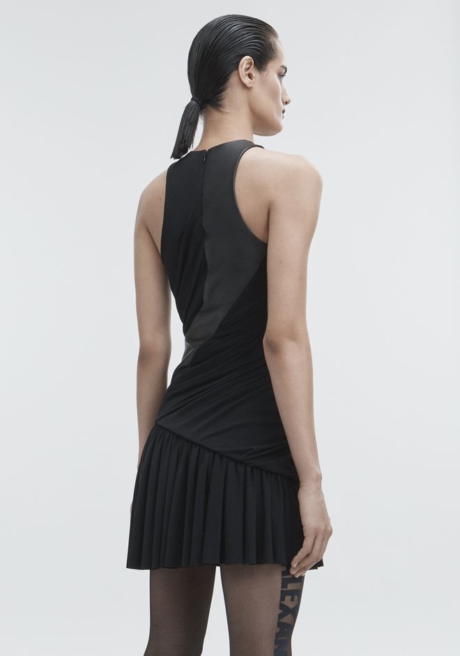 ALEXANDER WANG DRAPED COMBO DRESS Short Dress Adult 12_n_e