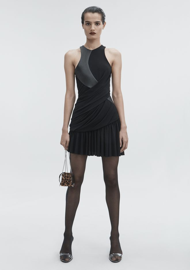 ALEXANDER WANG DRAPED COMBO DRESS Short Dress Adult 12_n_f