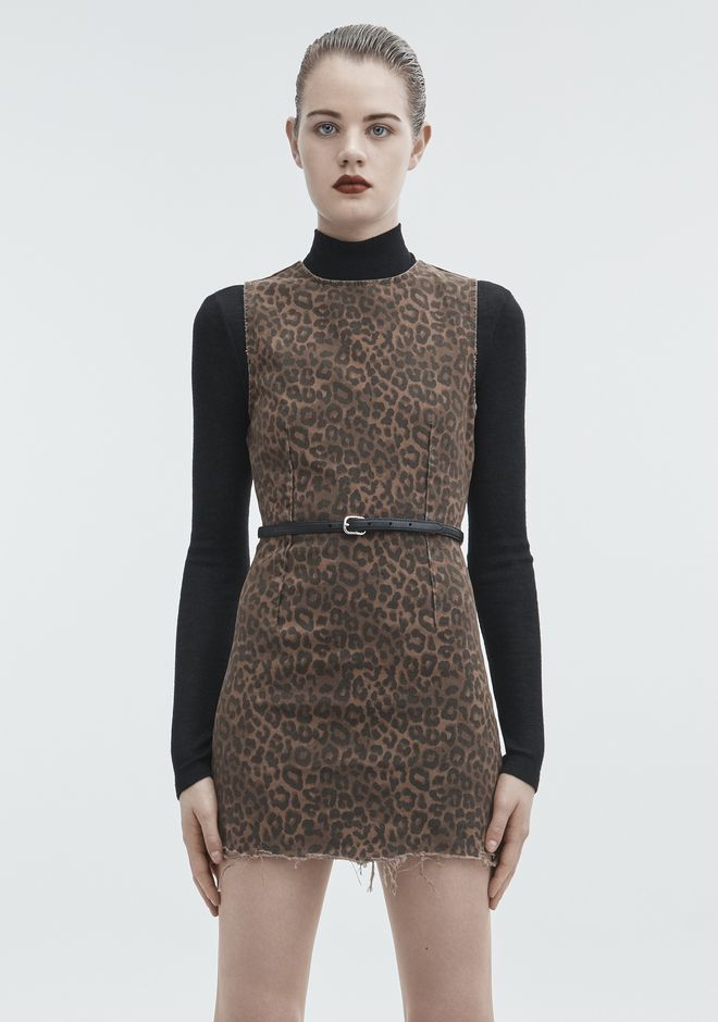ALEXANDER WANG LEOPARD PRINT ZIP DRESS DENIM Adult 12_n_a