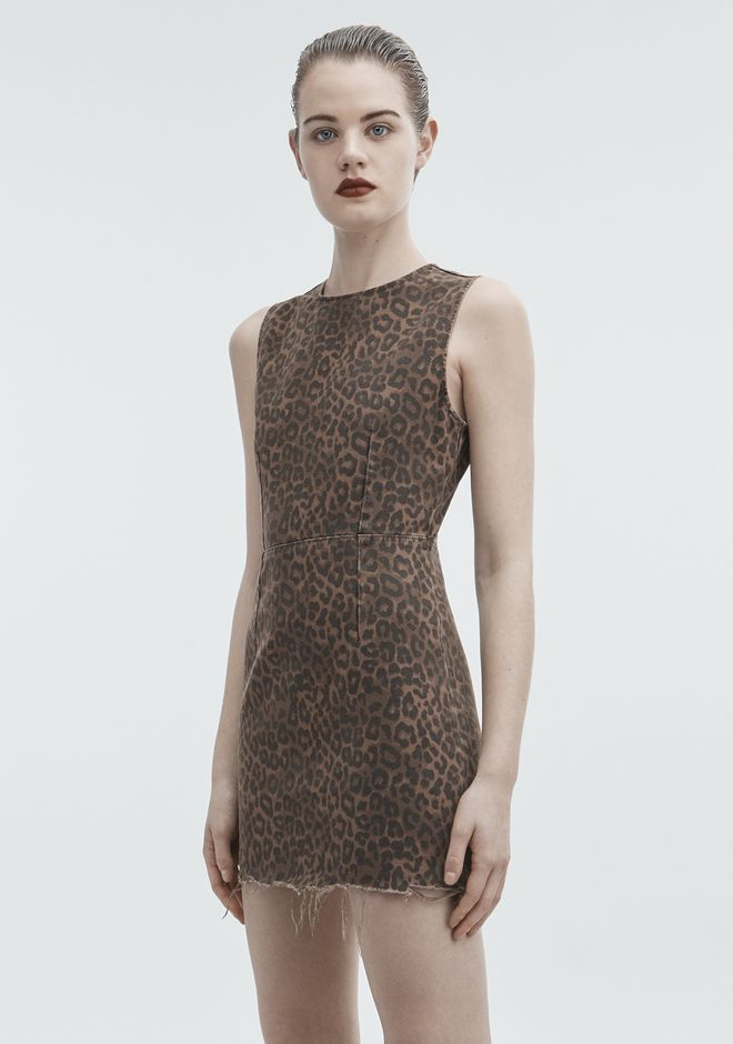 ALEXANDER WANG LEOPARD PRINT ZIP DRESS DENIM Adult 12_n_d