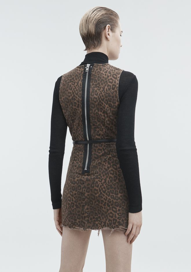 ALEXANDER WANG LEOPARD PRINT ZIP DRESS DENIM Adult 12_n_e