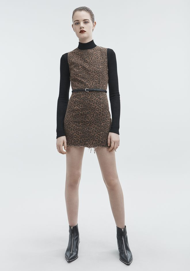 ALEXANDER WANG LEOPARD PRINT ZIP DRESS DENIM Adult 12_n_f