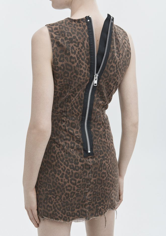 ALEXANDER WANG LEOPARD PRINT ZIP DRESS DENIM Adult 12_n_r