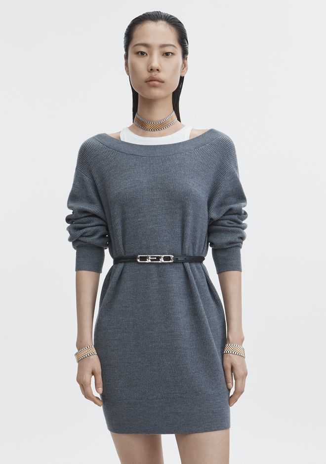 T by ALEXANDER WANG BI-LAYER OFF SHOULDER DRESS KNIT DRESS Adult 12_n_e