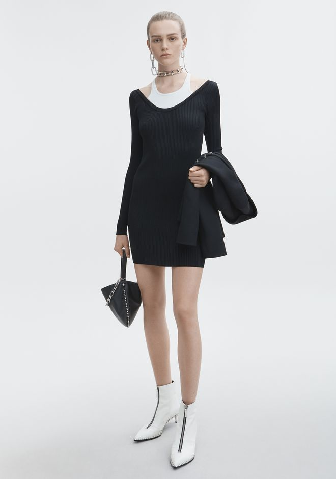 T by ALEXANDER WANG new-arrivals-t-by-alexander-wang-woman BI-LAYER MINI DRESS