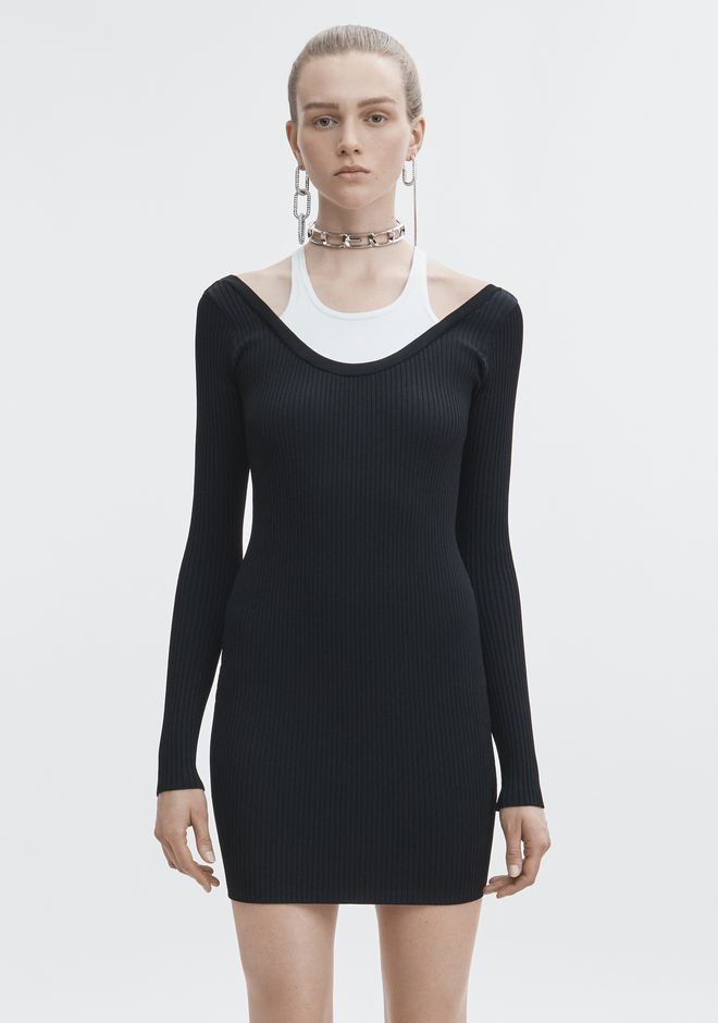 T by ALEXANDER WANG BI-LAYER MINI DRESS 3/4 length dress Adult 12_n_a