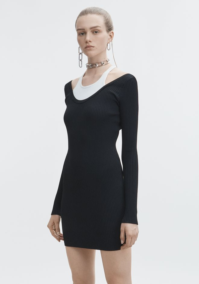 T by ALEXANDER WANG BI-LAYER MINI DRESS 3/4-Kleid Adult 12_n_d