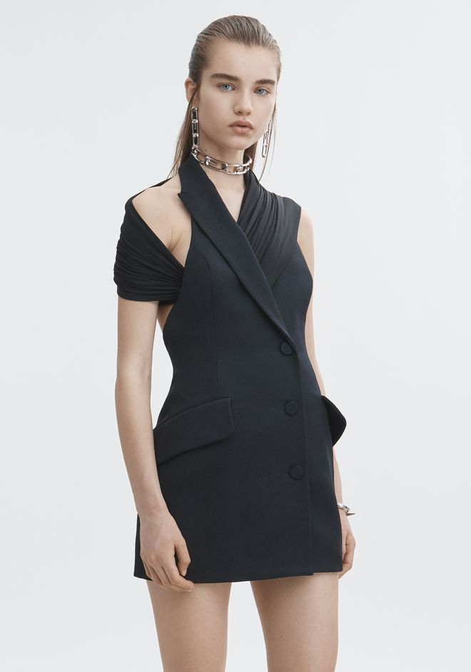 ALEXANDER WANG DRAPED TUXEDO DRESS Short Dress Adult 12_n_r