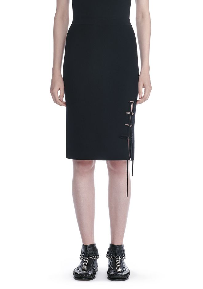 ALEXANDER WANG PENCIL SKIRT WITH SIDE SLIT LACING SKIRT Adult 12_n_d