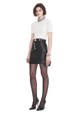 HIGH WAISTED LEATHER MINI SKIRT WITH MULTI SNAP DETAIL