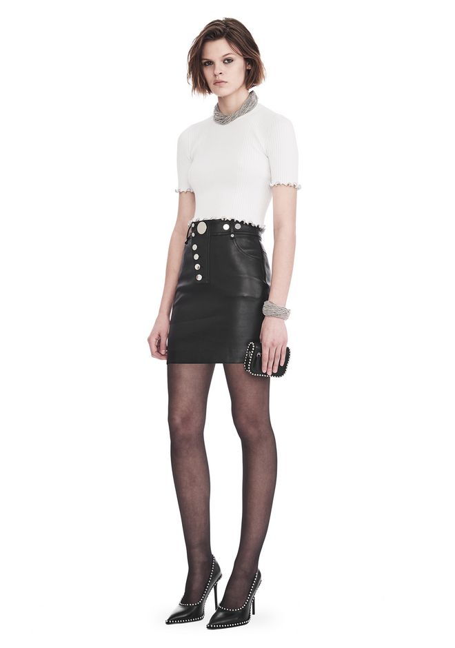 ALEXANDER WANG slrtwbtm HIGH WAISTED LEATHER MINI SKIRT WITH MULTI SNAP DETAIL