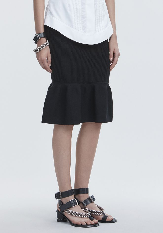 ALEXANDER WANG RIBBED PEPLUM SKIRT 半裙 Adult 12_n_e