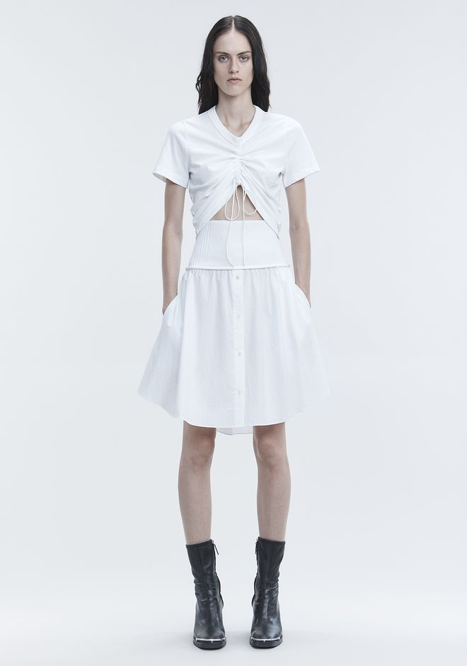 T by ALEXANDER WANG sltbbtm WASHED POPLIN SKIRT