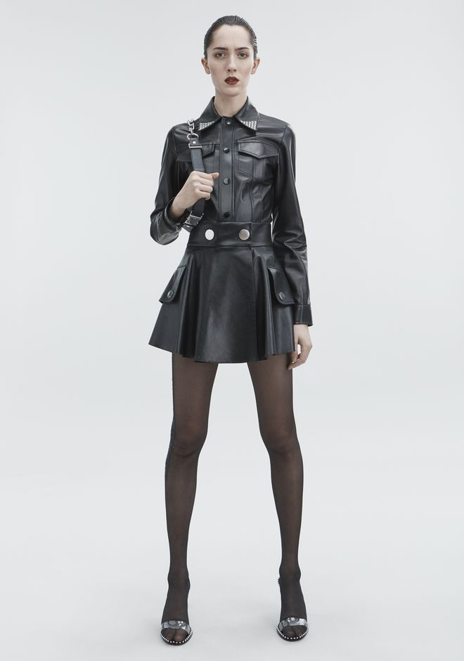 ALEXANDER WANG prefall18-collection LEATHER MINI SKIRT