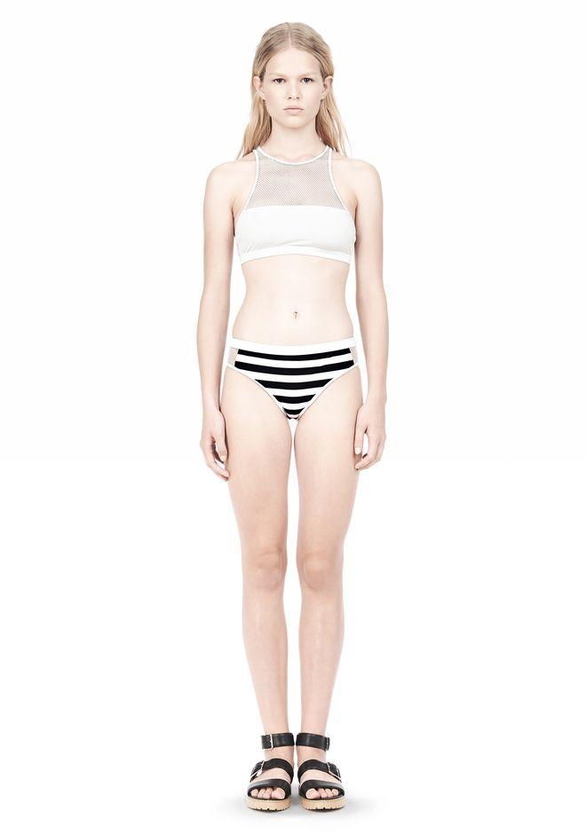T by ALEXANDER WANG STRIPE MESH COMBO SWIM BOTTOM Swimwear Adult 12_n_f
