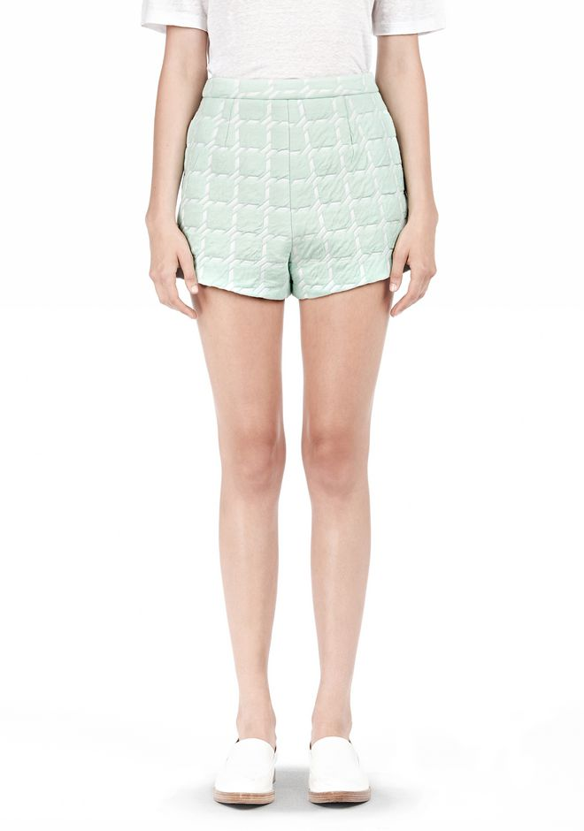 T by ALEXANDER WANG GRID JACQUARD BONDED NEOPRENE CROPPED SHORTS SHORTS Adult 12_n_e