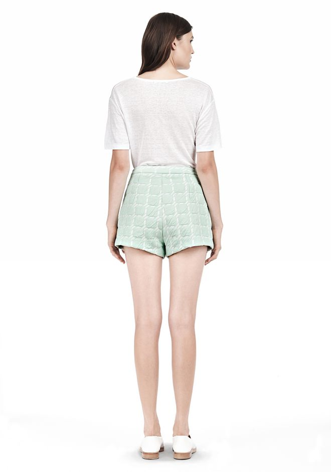 T by ALEXANDER WANG GRID JACQUARD BONDED NEOPRENE CROPPED SHORTS SHORTS Adult 12_n_r
