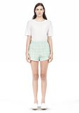 T by ALEXANDER WANG GRID JACQUARD BONDED NEOPRENE CROPPED SHORTS SHORTS Adult 8_n_f