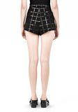 T by ALEXANDER WANG GRID PRINT NEOPRENE CROPPED SHORTS SHORTS Adult 8_n_a