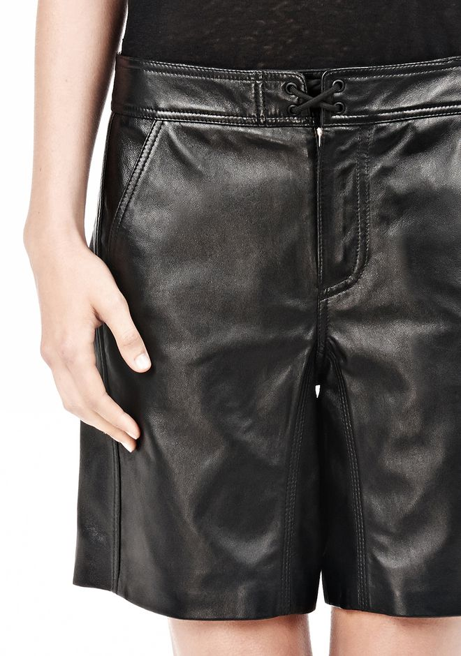 T by ALEXANDER WANG LIGHTWEIGHT LEATHER BOARDSHORTS SHORTS Adult 12_n_a