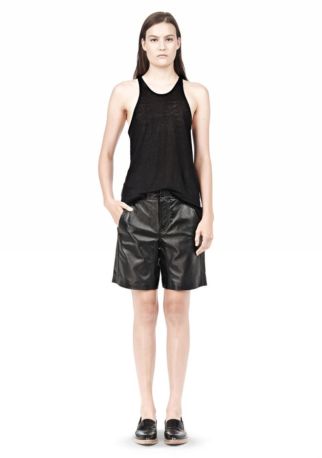 T by ALEXANDER WANG LIGHTWEIGHT LEATHER BOARDSHORTS SHORTS Adult 12_n_f