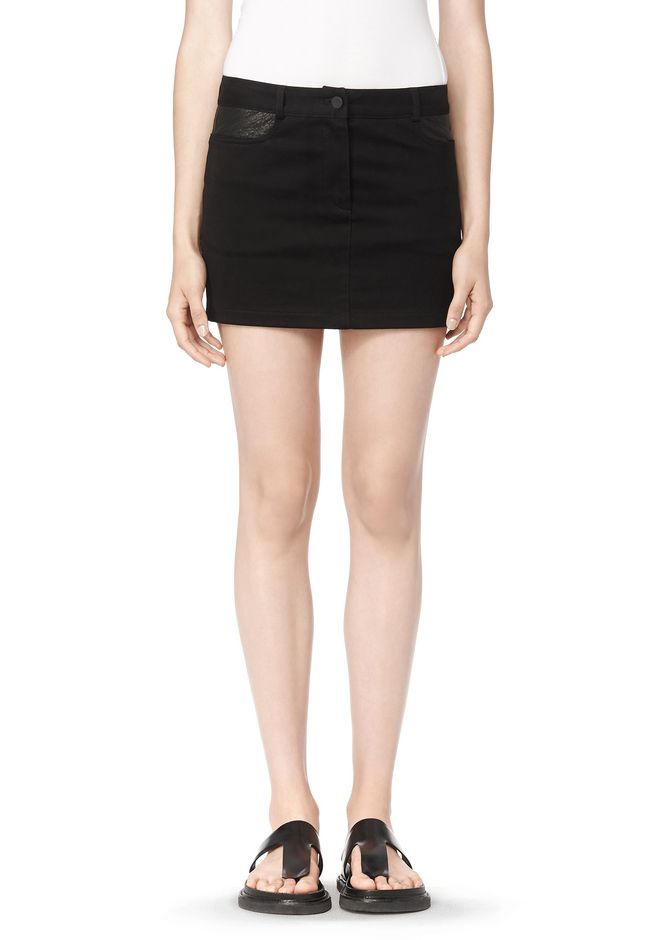 T by ALEXANDER WANG COTTON CANVAS TWILL JEAN SKIRT WITH LEATHER YOKE SKIRT Adult 12_n_d