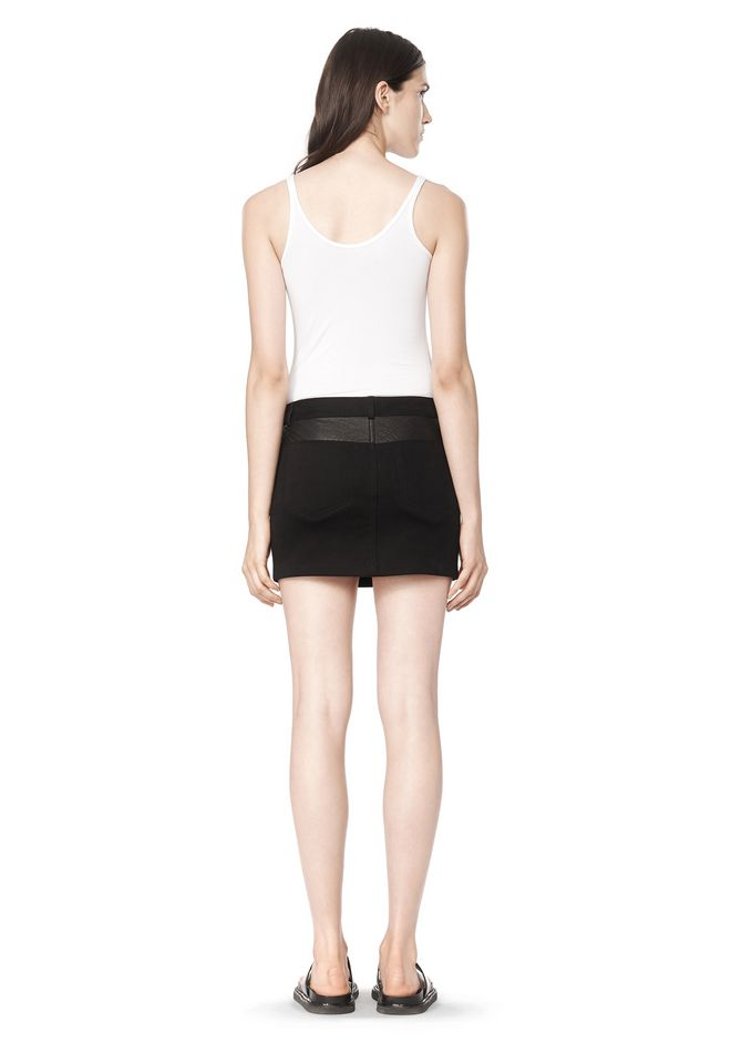 T by ALEXANDER WANG COTTON CANVAS TWILL JEAN SKIRT WITH LEATHER YOKE SKIRT Adult 12_n_r
