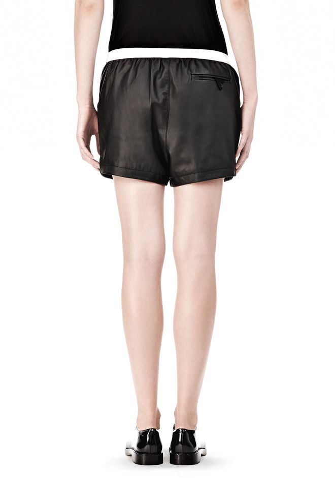 T by ALEXANDER WANG LEATHER SHORTS WITH ELASTIC WAISTBAND SHORTS Adult 12_n_a