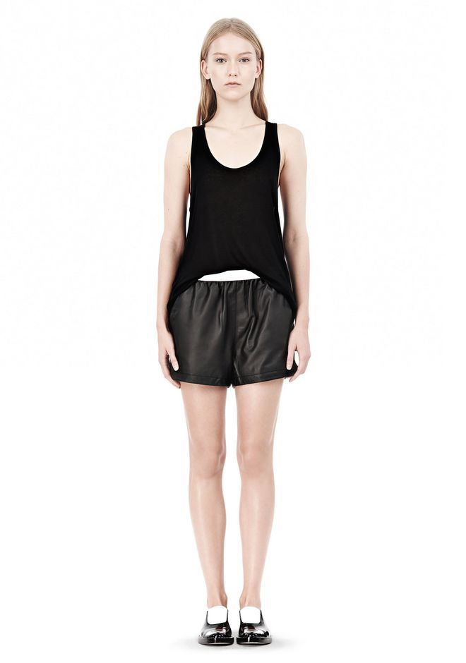 T by ALEXANDER WANG LEATHER SHORTS WITH ELASTIC WAISTBAND SHORTS Adult 12_n_f