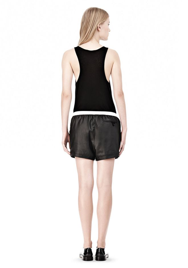 T by ALEXANDER WANG LEATHER SHORTS WITH ELASTIC WAISTBAND SHORTS Adult 12_n_r