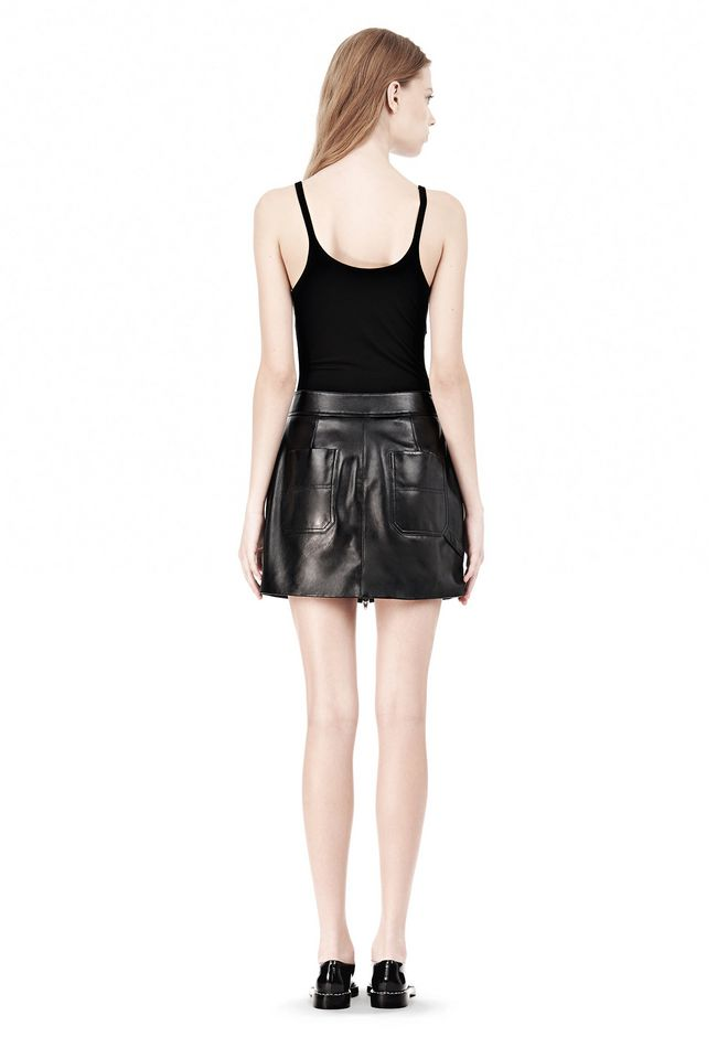 T by ALEXANDER WANG LEATHER TWO-WAY ZIP SKIRT WITH PATCH POCKETS SKIRT Adult 12_n_r