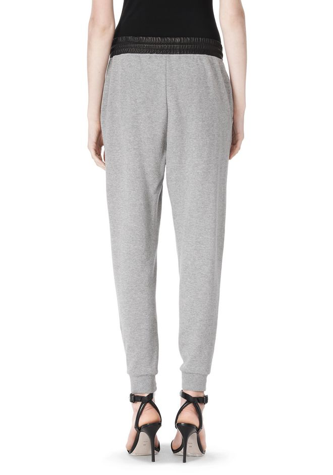 T by ALEXANDER WANG COTTON SWEATPANTS WITH LEATHER WAISTBAND PANTS Adult 12_n_a