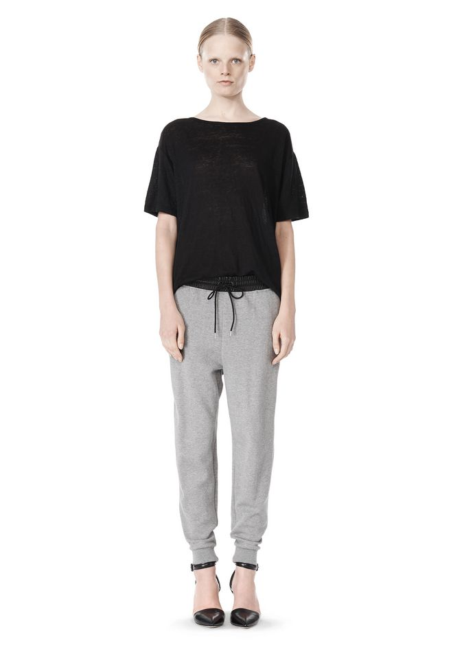 T by ALEXANDER WANG COTTON SWEATPANTS WITH LEATHER WAISTBAND PANTS Adult 12_n_f