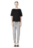 T by ALEXANDER WANG COTTON SWEATPANTS WITH LEATHER WAISTBAND PANTS Adult 8_n_f