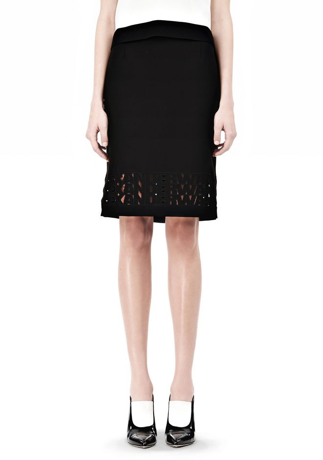 ALEXANDER WANG PENCIL SKIRT WITH LOGO EYELET EMBROIDERY SKIRT Adult 12_n_d