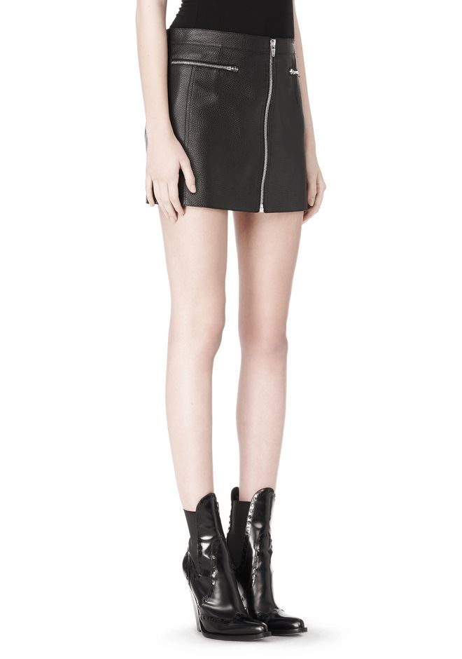 ALEXANDER WANG RAW EDGE LEATHER MINI SKIRT SKIRT Adult 12_n_e