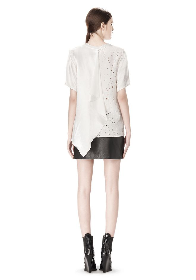 ALEXANDER WANG RAW EDGE LEATHER MINI SKIRT SKIRT Adult 12_n_r