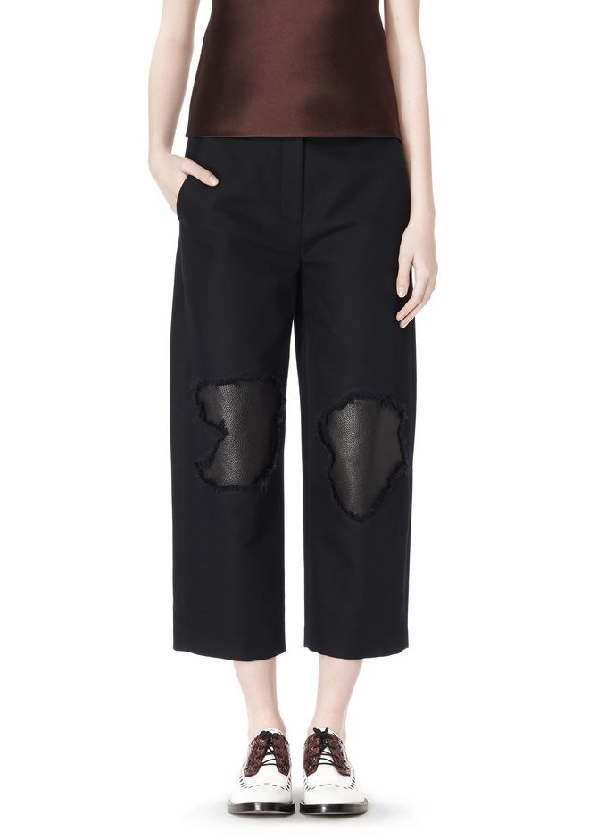 ALEXANDER WANG CROPPED PANT WITH DISTRESSED DETAIL PANTS Adult 12_n_d
