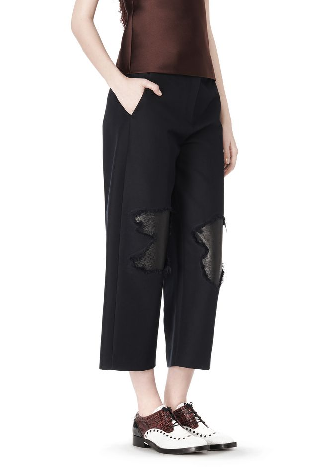 ALEXANDER WANG CROPPED PANT WITH DISTRESSED DETAIL PANTS Adult 12_n_e