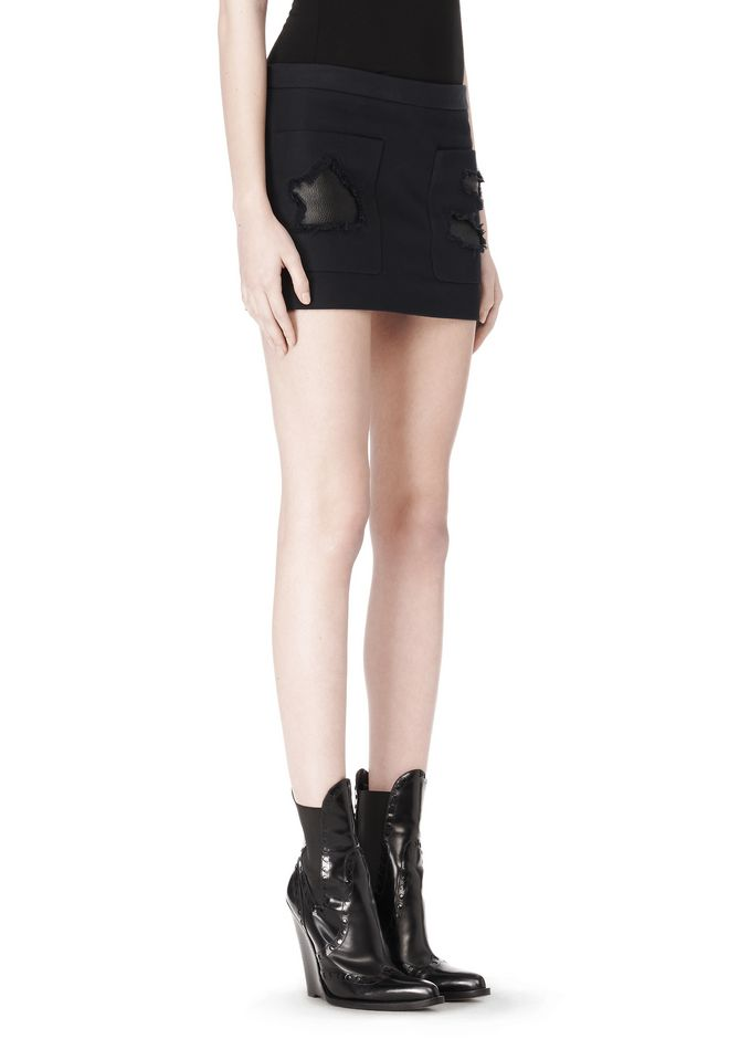 ALEXANDER WANG CROPPED SKIRT WITH DISTRESSED DETAIL SKIRT Adult 12_n_e