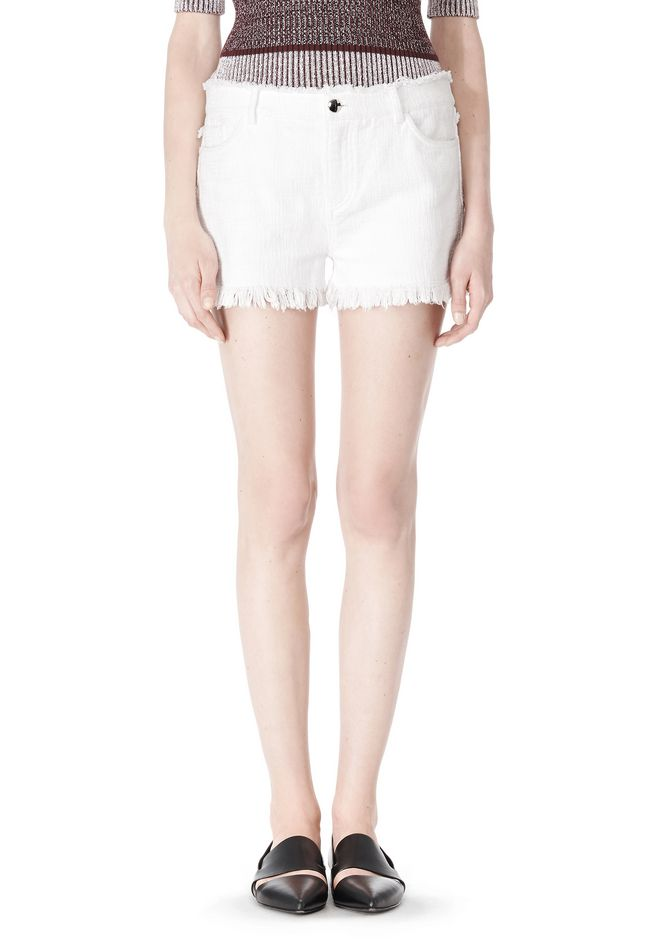 T by ALEXANDER WANG COTTON BURLAP CUT OFF JEAN SHORTS  SHORTS Adult 12_n_d