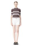 T by ALEXANDER WANG COTTON BURLAP CUT OFF JEAN SHORTS  SHORTS Adult 8_n_f