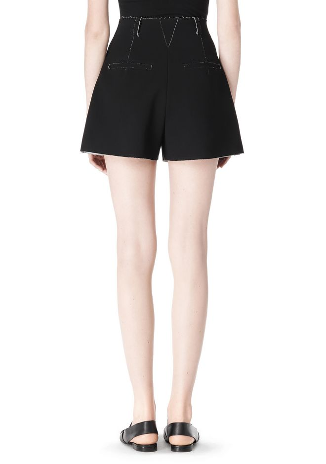 T by ALEXANDER WANG DOUBLE FACE BONDED HIGH WAISTED SHORTS SHORTS Adult 12_n_a