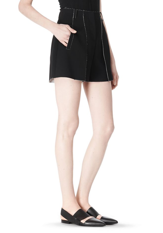 T by ALEXANDER WANG DOUBLE FACE BONDED HIGH WAISTED SHORTS SHORTS Adult 12_n_e