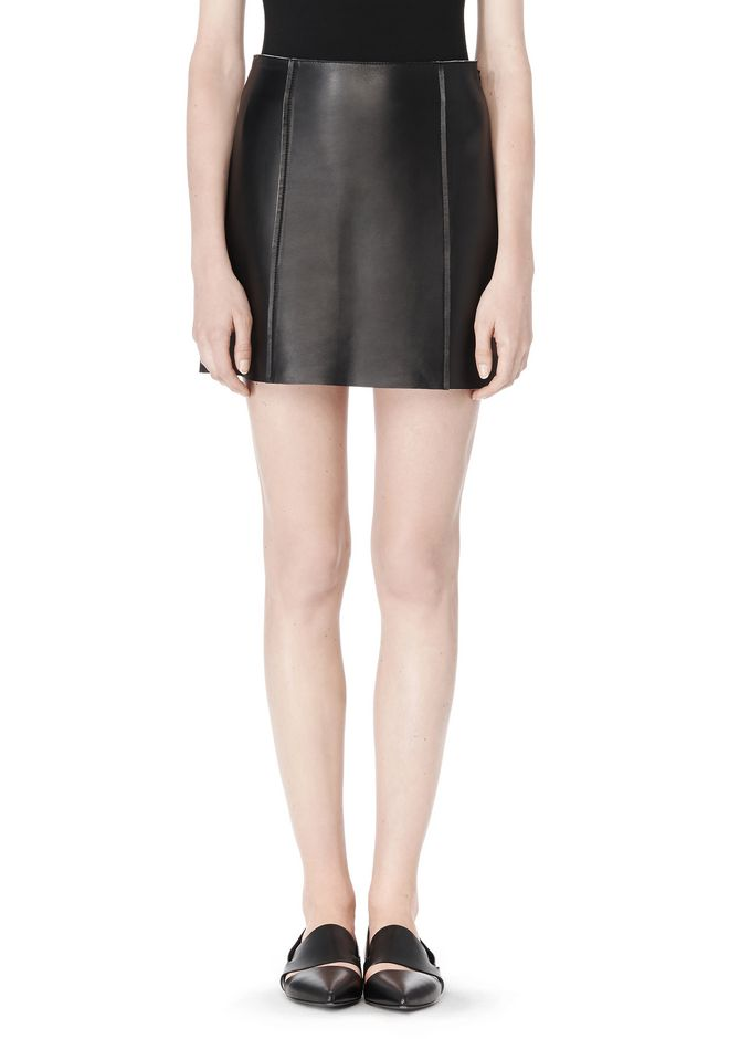 T by ALEXANDER WANG RAW EDGE A-LINE LEATHER SKIRT SKIRT Adult 12_n_d