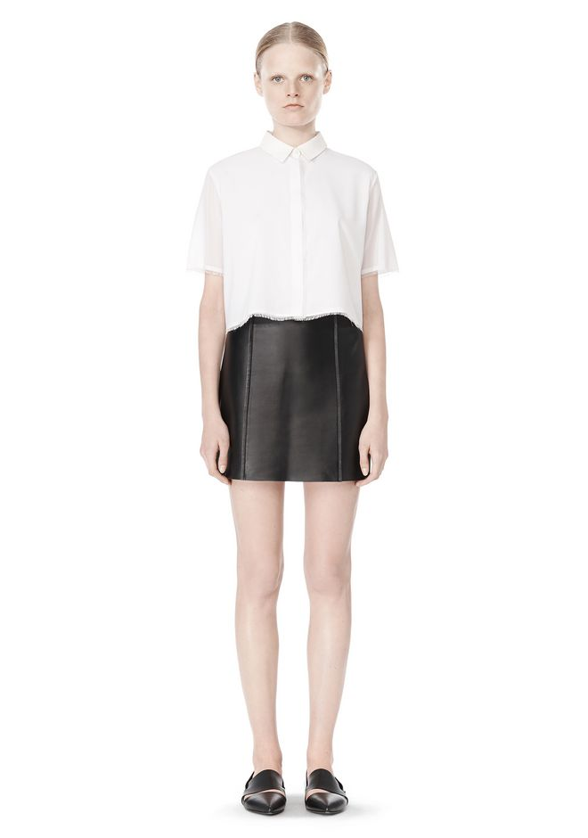 T by ALEXANDER WANG RAW EDGE A-LINE LEATHER SKIRT SKIRT Adult 12_n_f