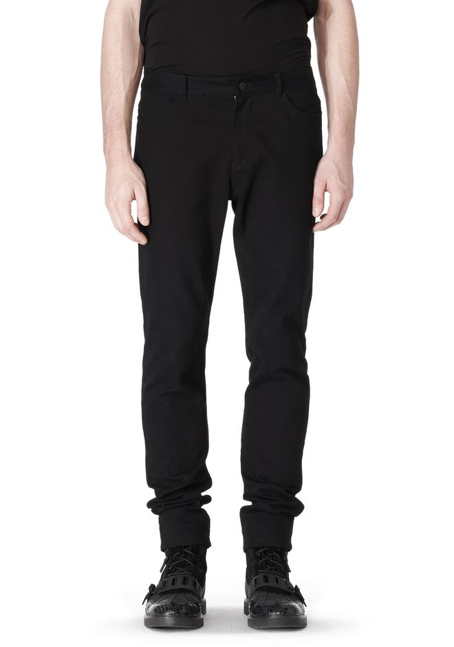 T by ALEXANDER WANG COTTON CANVAS TWILL JEANS WITH LEATHER BACK POCKET PANTS Adult 12_n_e