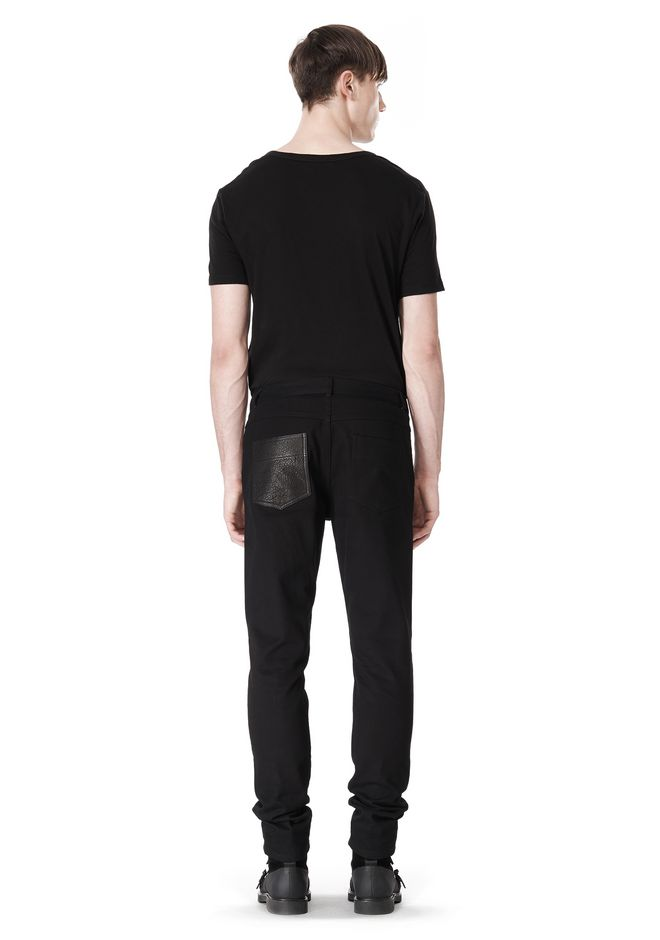 T by ALEXANDER WANG COTTON CANVAS TWILL JEANS WITH LEATHER BACK POCKET PANTS Adult 12_n_r