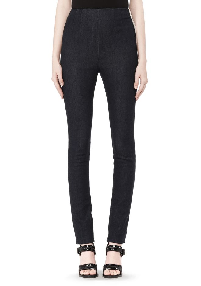 T by ALEXANDER WANG STRETCH DENIM TERRY HIGH WAISTED PANT PANTS Adult 12_n_d